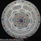"""15"""" White Marble Plate Marquetry Handmade Pietra Dura Filigree Inlay Decor Gifts"""