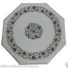 "12"" White Marble Coffee Table Top Mosaic Semi Precious Italian Decor"