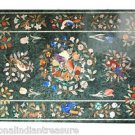 2.5'x5' Marble Dining Table Top Rare Gem Inlaid Mosaic Birds Fruits Art Handmade