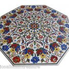 "30"" White Marble Dining Coffee Table Top Inlaid Birds Butterfly Design Real Gems"