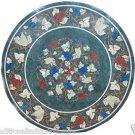 "36"" Green Marble Inlay Table Top Pietradura Art Gape Design Inlaid Marquetry Art"