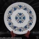"12"" White Marble Plate Decorative Lapis Lazuli Pietra Dura Handmade Best Gifts"