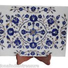 White Marble Serving Dish Plate Real Lapis Stone Marquetry Floral Art Deco Gifts