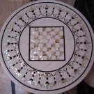 """30"""" White Marble Table Top Chess Design Mother Of Pearl Inlaid Patio Decor Gifts"""