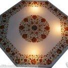 "30"" Marble Dining Table Top Hakik Furniture Handmade Inlaid Pietra Dura Decor"
