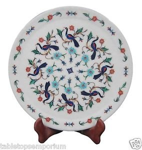"""12""""x 12"""" Marble Serving Dish Plate Mosaic Peacock Inlay Marquetry Table Decor"""