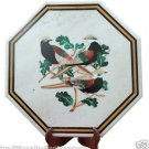 "18"" Exclusive White Marble Marquetry Table Top Inlaid Malachite Birds Decor Art"