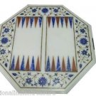 2' Marble Coffee Table Top Marquetry Side Pietra Dura Backgammon Board Game Art