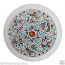 "14""x 14"" Marble Serving Kishti Plate Rare Gems Inlay Mosaic Marquetry Home Decor"