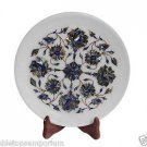 White Marble Round Serving Tray Plate Lapis Gem Pauashell Mosaic Inlay Deco Gift