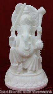 """14"""" Marble Ganesha Statue Lord Ganesh Deities Sculpture White Handcarve Fine Art"""