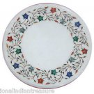 """18"""" Marble Coffee Table Top Pietra Dura Marquetry Stone Inlaid  Stone With Stand"""