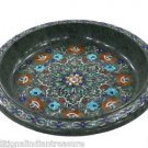 """14"""" Green Marble Fruit Bowl Pietra Dura Mosaic Marquetry Home Decor Arts Gifts"""