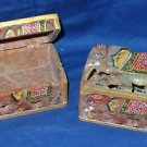 2 Marble Jewelry Box Trinket Elephant Design Hand Painted Home Decor Art Gifts