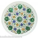 "12"" Decorative Marble Plate Pietra Dura Malachite Handmade Home Decor Gifts New"