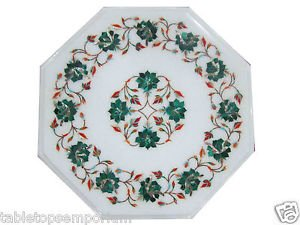Size 1'x1' Marble Side Coffee Table Top Rare Malachite Mosaic Floral Decor