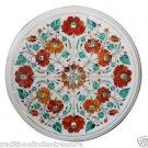Size 1'x1' Marble End Coffee Table Top Rare Carnelian Gemstone Mosaic Decor