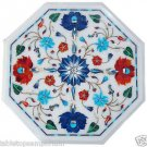 Size 1'x1' Marble End Coffee Table Top Rare Multi Inlay Stone Mosaic Decor