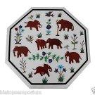 "Size 18""x18"" Marble End Coffee Table Top Jasper Stone Mosaic Elephant Decor"