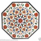 Size 3'x3' White Marble Side Corner Coffee Center Table Top Inlay Marquetry Deco