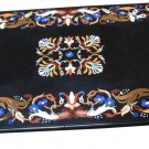 Size 2'x3' Black Marble Center Dining Table Top Rare Inlay Marquetry Mosaic Deco