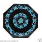 "13"" Black Marble Table Top Coffee Turquoise Beautiful Home Decor Handmade New"