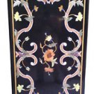 Size 2'x3' Black Marble Dining Center Table Top Inlay Marquetry Mosaic Art Decor