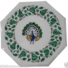 Size 1'x1' Marble Side Coffee Table Top Malachite Inay Peacock Mosaic Decor Art