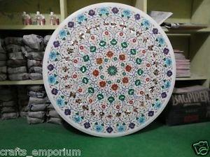 "36"" White Marble Handmade Dining Table Top Coffee Inlay Paua Shell Mosaic Decor"