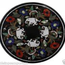 Size 3'x3' Marble Dining Table Top Inlay White Elephant Mosaic Handicraft Arts