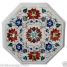 Size 1'x1' Marble End Coffee Table Top Rare Carnelian Mosaic Floral Decor