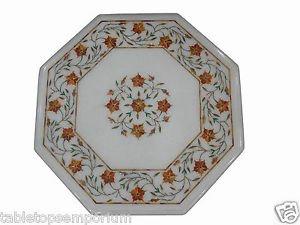 Size 1'x1' Marble Corner Coffee Table Top Hakik Gemstone Mosaic Floral Deco