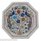 Size 1'x1' Marble Side Coffee Table Top inlay 2 Peacock Mosaic Art Decor