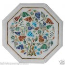 Size 1'x1' Marble Center Coffee Table Top Rare Inlay Mosaic Grapes Art Decor