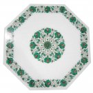 Size 2'x2' Marble Coffee Table Top Inlay Gem Malachite Floral Home Decor Gifts