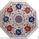 Size 1'x1' White Marble Side Corner Coffee Table Top Inlay Marquetry Mosaic Deco