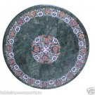 Size 3'x3' Green Marble Round Center Dining Table Top Inlay Marquetry Mosaic Art