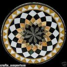 """24"""" Black Marble Table Top Coffee Inlay Dining Table Marquetry Dining Room Decor"""