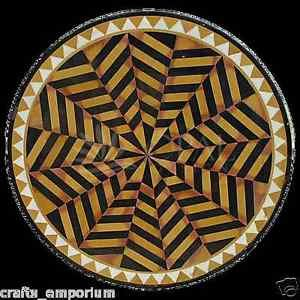 """24"""" Black Marble Marquetry Inlay Coffee Dining Table Top Mosaic Beautiful Arts"""