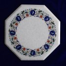 "18"" White Coffee Table Top Parrot Design Mosaic Marble inlaid Pietra Dura Arts"