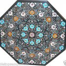 """Size 42""""x42"""" Black Marble Dining Center Table Top Inlaid Marquetry Mosaic Art"""