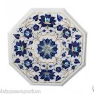 Size 1'x1' Marble Side Table Top Inlay Handmade Lapis Lazuli Decor Christmas Art