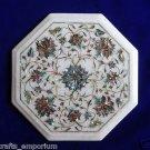 "12"" Marble Inlay Original Paua Shell coffee Side Table Lazysusan Pietra Dura Art"