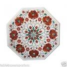 "Size 15""x15"" Marble Handmade Side Table Top Pietra Dura Hakik Home Decor Arts"