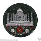 "14"" Black Marble Hakik Pietra Dura Dining Taj Mahal Table Top Coffee Home Decor"