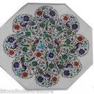 Size 2'x2' Marble Center Coffee Table Top Pauashell Gem Mosaic Peacock Decor