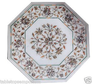 "Size 12""x12"" Marble Coffee Table Top Inlay Paua Shell Mosaic Home Decor Gifts"