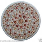 Size 2'x2' Marble Side Coffee Table Top Carnelian Gems Mosaic Floral Decor