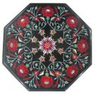 Size 1'x1' Black Marble Side Table Top Pietra Dura Carnelian Christmas Day Gifts