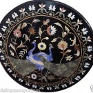 "Size 30""x30"" Marble Coffee Side Table Top Peacock Inlay Marquetry Garden Decor"
